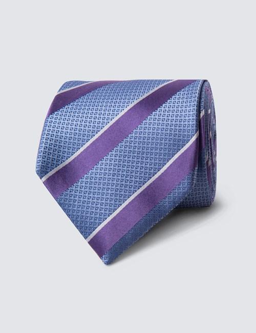 Krawatte – Seide – Standardbreite – Tricolor Streifen himmelblau
