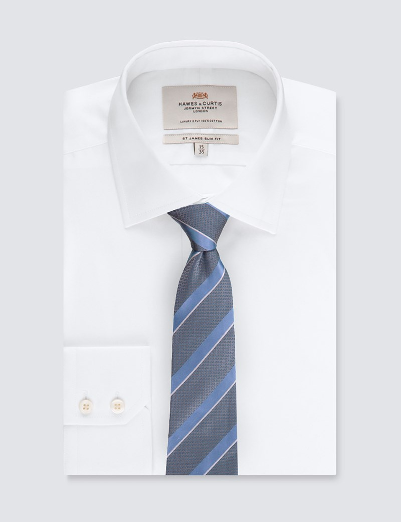 Men's Grey & Light Blue Medium Stripe Tie - 100% Silk