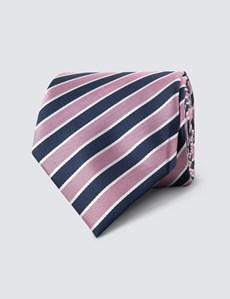 Men's Navy & Light Pink Club Stripe Tie - 100% Silk