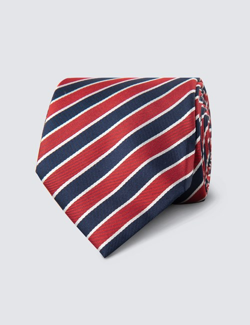 Men's Navy & Red Club Stripe Tie - 100% Silk