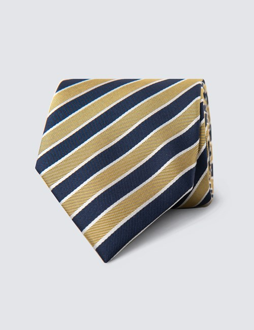 Men's Navy & Yellow Club Stripe Tie - 100% Silk