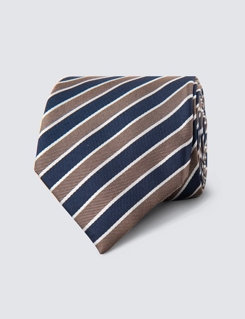 Men's Navy & Brown Club Stripe Tie - 100% Silk