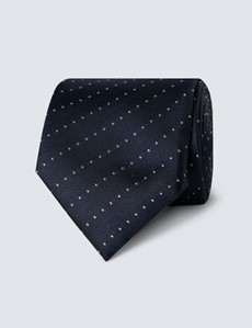 Men's Navy & White Pin Dot Stripe Tie - 100% Silk