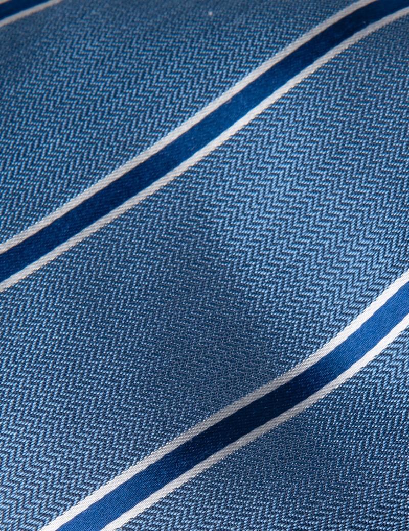 Men's Light Blue & Navy Herringbone Wide Stripe Tie - 100% Silk