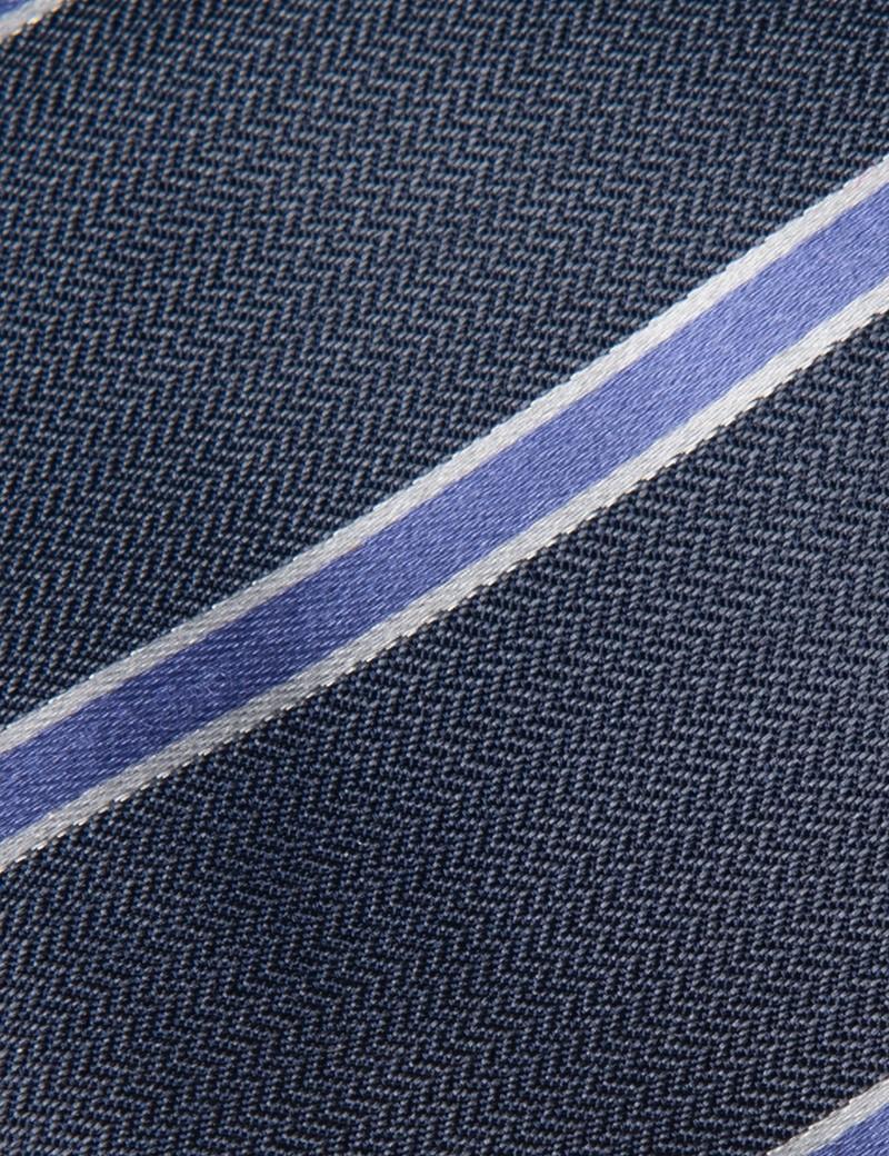 Krawatte – Seide – Standardbreite – Collegestreifen flieder