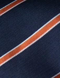 Men's Navy & Orange Herringbone Wide Stripe Tie - 100% Silk
