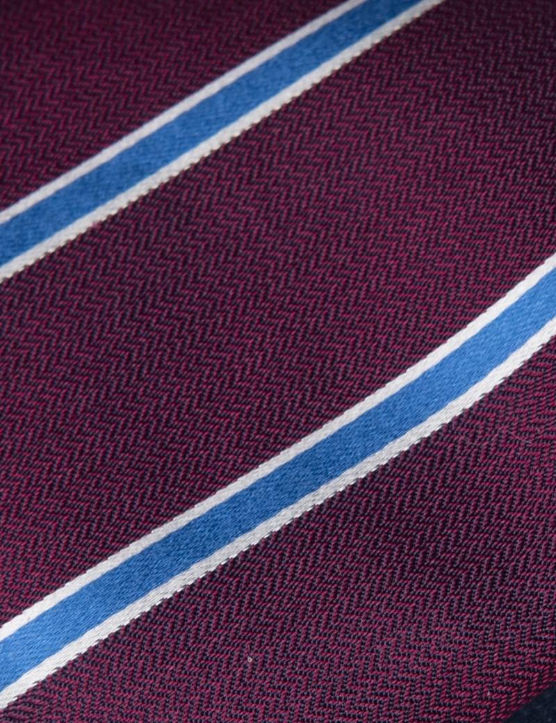 Men's Purple & Blue Herringbone Wide Stripe Tie - 100% Silk