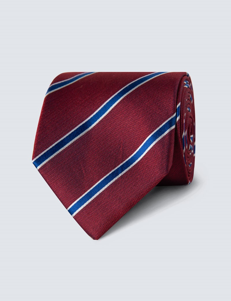 Men's Red & Blue Herringbone Wide Stripe Tie - 100% Silk