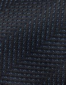 Men's Navy Tonal Stripe Tie - 100% Silk