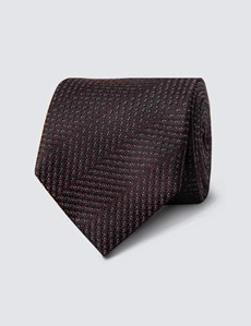 Men's Wine Tonal Stripe Tie - 100% Silk