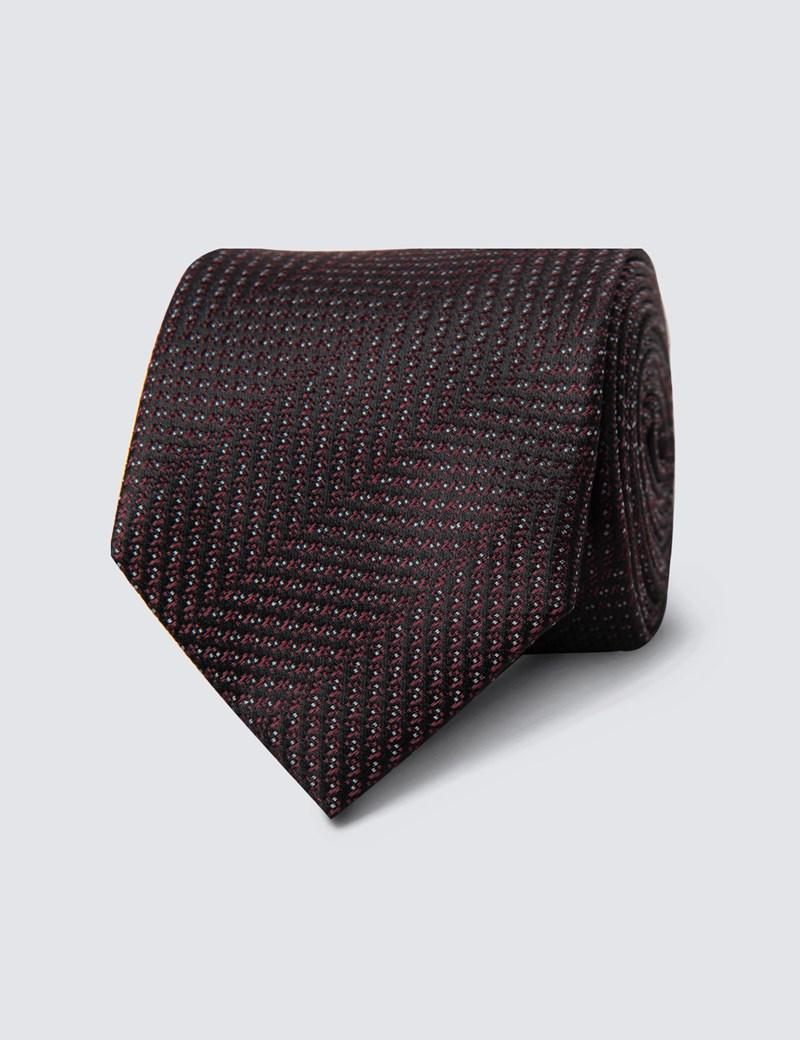 Krawatte – Seide – Schmal – Weinrot gestreift