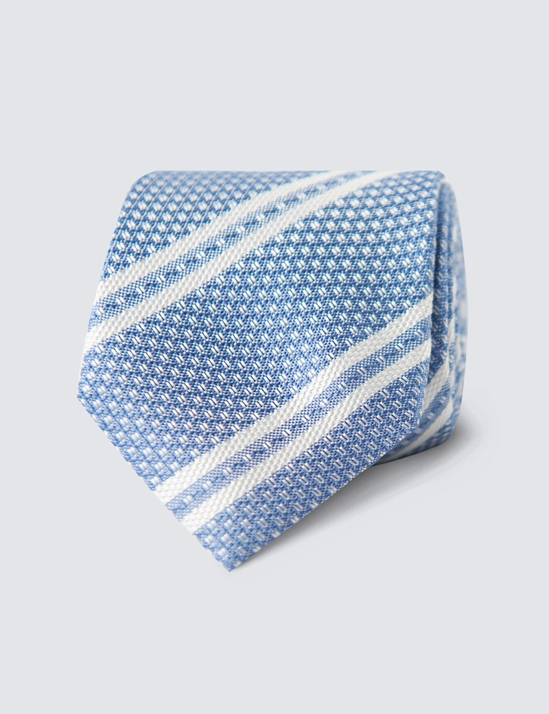 Men's Light Blue Double Stripe Tie - 100% Silk