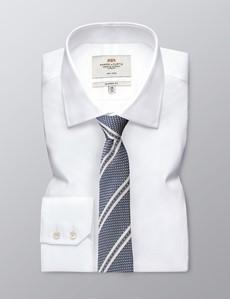 Men's Navy Double Stripe Tie - 100% Silk