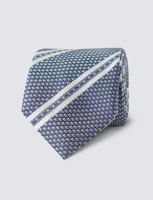 Krawatte – Seide – Schmal – grau-blau Streifen