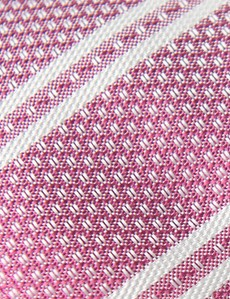 Men's Pink Double Stripe Tie - 100% Silk