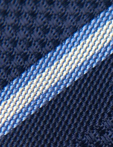 Men's Navy & Blue Textured Stripe Tie - 100% Silk