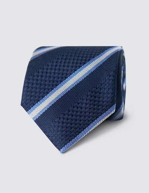 Men's Navy & Blue Textured Stripe Tie - 100% Silk