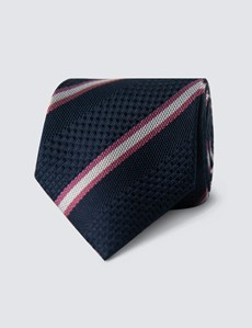 Men's Navy & Pink Textured Stripe Tie - 100% Silk