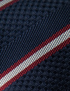 Men's Navy & Red Textured Stripe Tie - 100% Silk