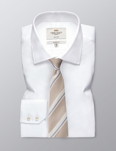 Men's Cream Dotted Stripe Tie - 100% Silk
