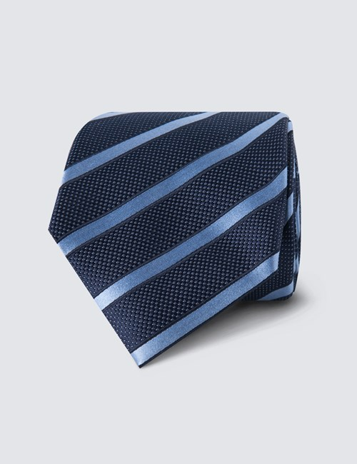 Men's Navy & Light Blue Dotted Club Stripe Tie - 100% Silk