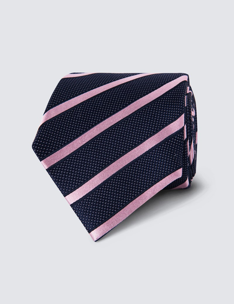 Men's Navy & Light Pink Dotted Club Stripes -100% Silk Tie