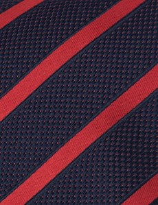 Men's Navy & Red Dotted Club Stripes - 100% Silk Tie
