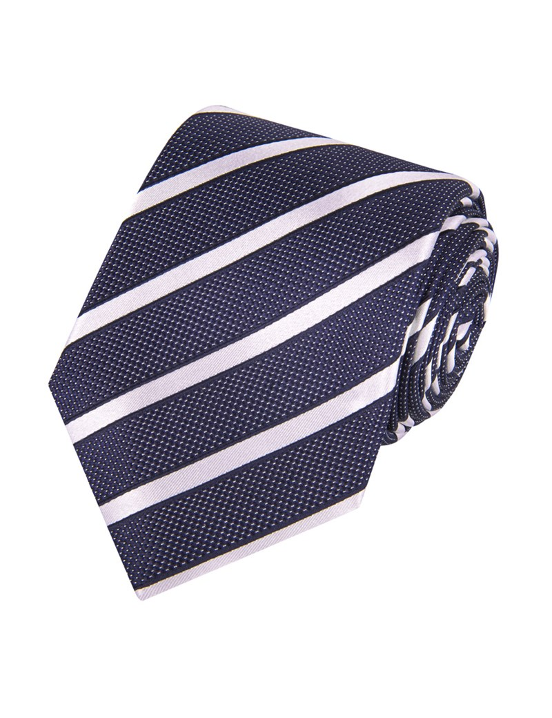 Navy & White Dotted Club Stripes 100% Silk Tie