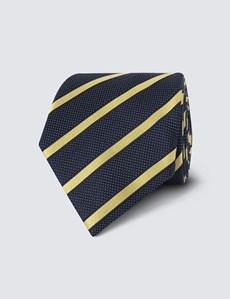 Men's Navy & Yellow Dotted Club Stripes 100% Silk Tie