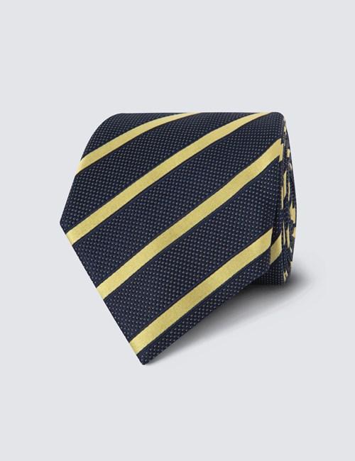 Krawatte –  Seide – Standardbreite – Collegestreifen marineblau & goldgelb