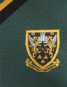 Men's Green, Black & Gold Northampton Saints Club Stripe Tie 100% Silk