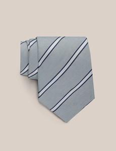 Men's Grey Stripe Tie – Silk & Linen Blend – Mark Francis Collection
