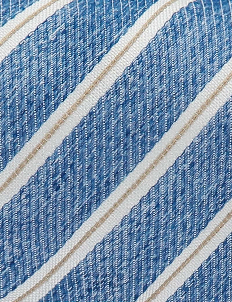 Men's Blue Stripe Tie - Silk & Linen Blend