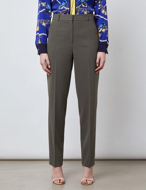 Women's Olive Slim Fit Suit Trouser