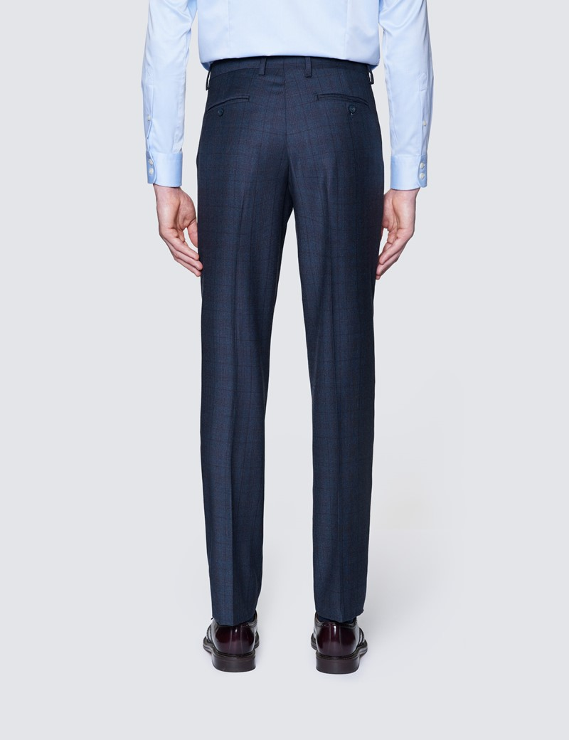 Men's Blue & Purple Prince Of Wales Check Tailored Fit Italian Suit Trousers - 1913 Collection