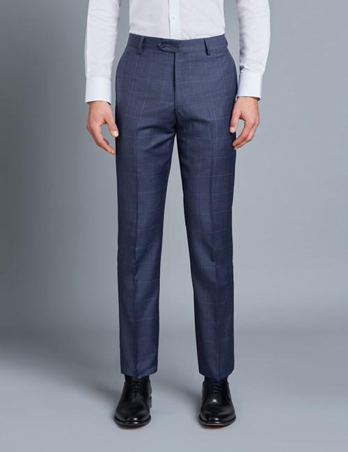 Men's Navy & Blue Windowpane Plaid Tailored Fit Italian Suit Pants - 1913 Collection
