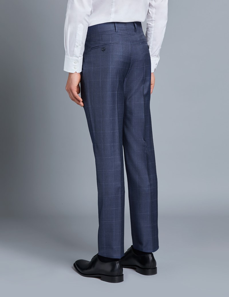 Men's Navy & Blue Windowpane Check Tailored Fit Italian Suit Trousers - 1913 Collection
