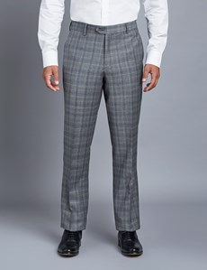Men's Grey Check Tailored Fit Italian Suit Trousers - 1913 Collection