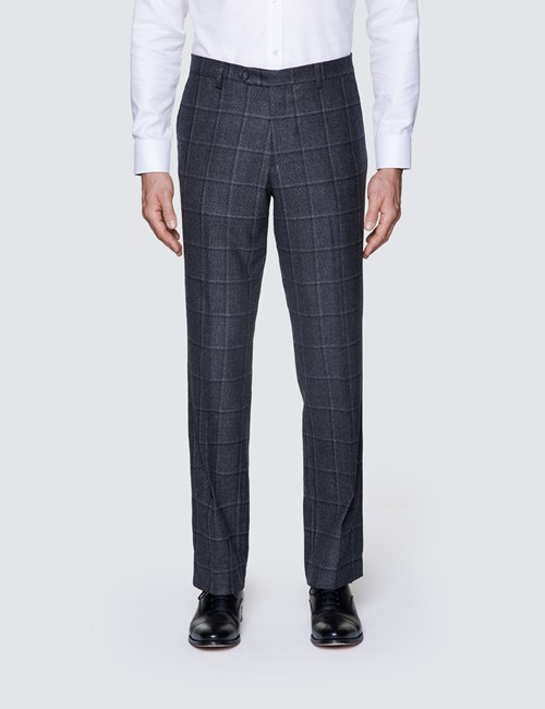 Men's Dark Grey Windowpane Check Tailored Fit Italian Suit Trousers - 1913 Collection