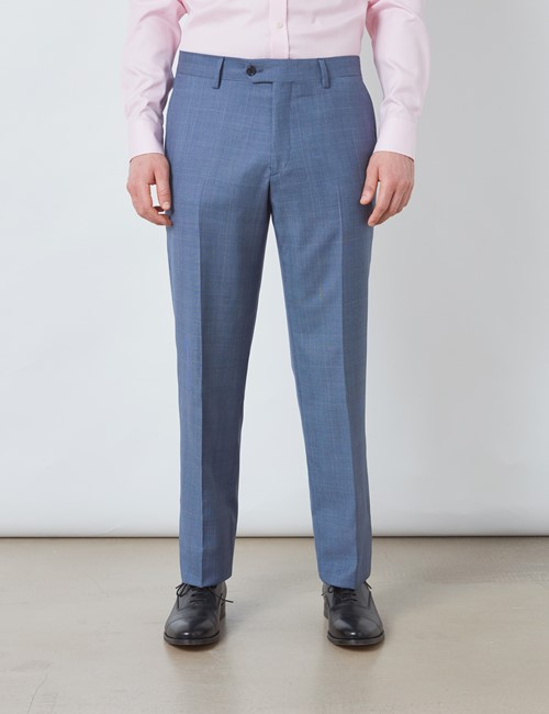 Men's Blue Prince Of Wales Check Tailored Fit Italian Suit Trousers - 1913 Collection