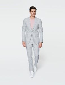 Men's Grey Check Linen Cotton Slim Fit Suit Trousers