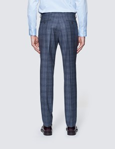 Men's Blue & Brown Prince Of Wales Check Tailored Fit Suit Trousers - 1913 Collection