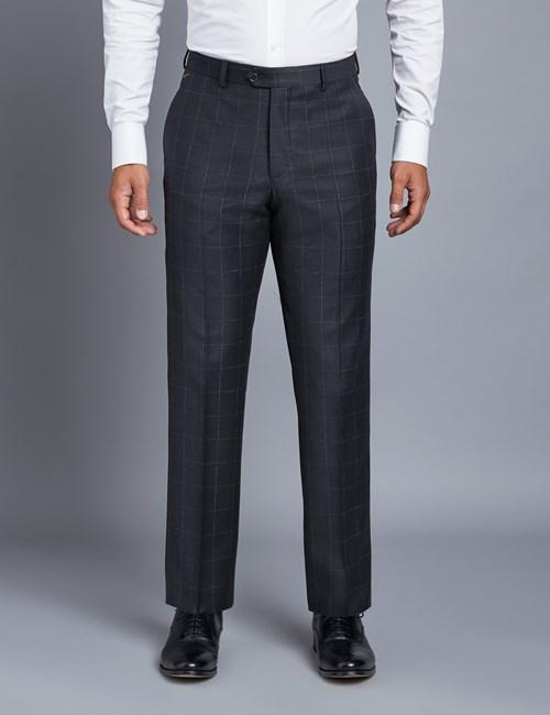 Anzughose - Tailored Fit - Gitterkaro dunkelblau & blau - Schurwolle - ohne Bundfalte - Vorderhose gefüttert - ungesäumt