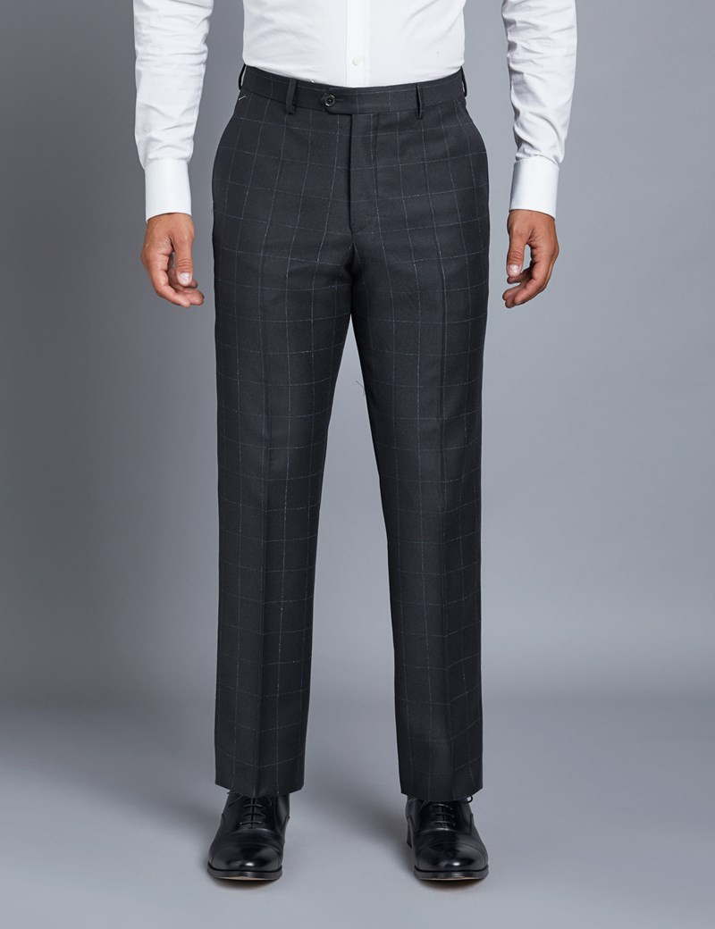 Men's Navy & Blue Plaid Tailored Fit Italian Suit Pants  - 1913 Collection