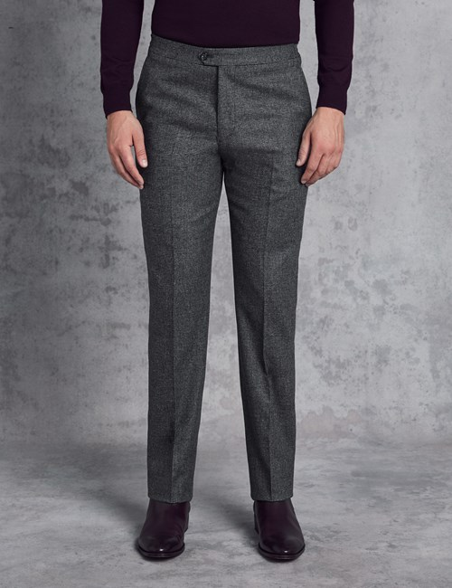 Men's Italian Flannel Grey Check Trousers – 1913 Collection