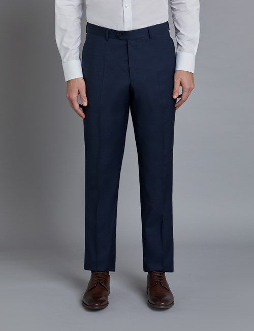 Luxuriöses Anzughose - Tailored Fit - Gitterkaro marine & braun - 130s Wolle - Ohne Bundfalte - Vorderhose Gefüttert - Ungesäumt