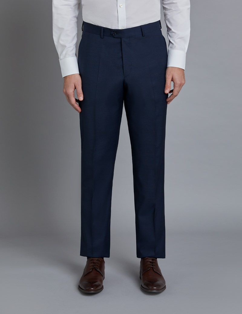 Men's Navy & Brown Windowpane Check Tailored Fit Italian Suit Trousers – 1913 Collection