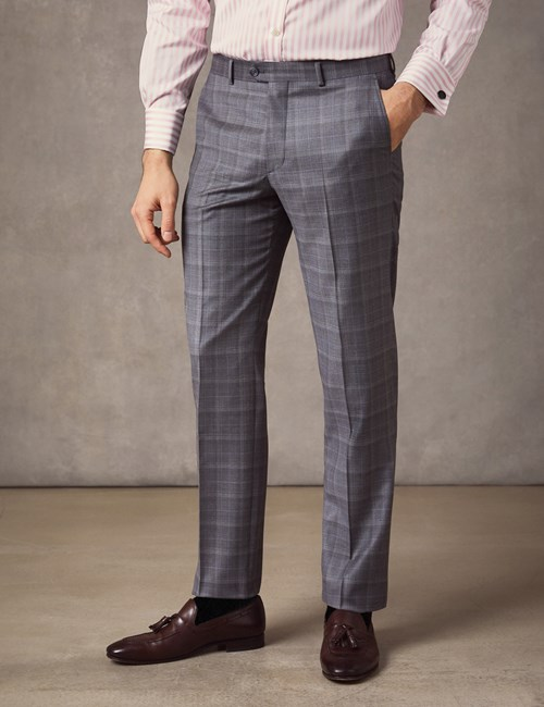 Men's Grey & Blue Prince Of Wales Check Tailored Fit Italian Suit Trousers – 1913 Collection