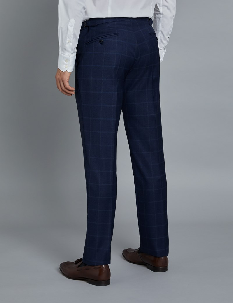 Men's Navy & Blue Windowpane Check Slim Fit Italian Suit Trousers – 1913 Collection