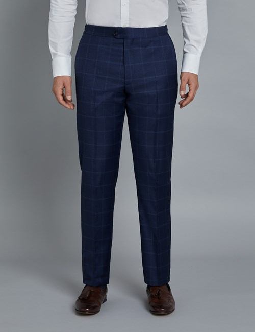 Men's Navy & Blue Windowpane Plaid Slim Fit Italian Suit Pants – 1913 Collection